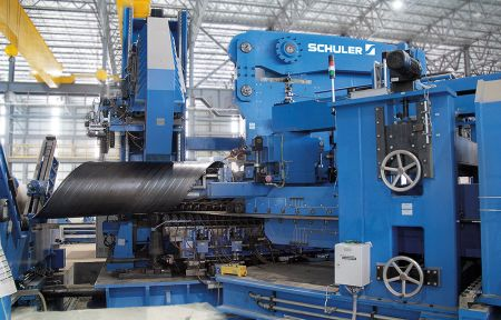 First spiral pipe produced at Schuler plant